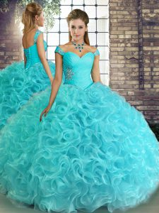 Aqua Blue Ball Gowns Beading Ball Gown Prom Dress Lace Up Fabric With Rolling Flowers Sleeveless Floor Length