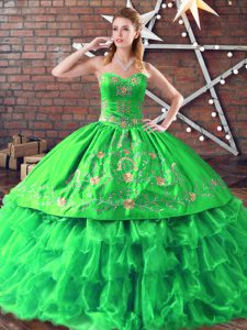 Cheap Sweetheart Sleeveless Organza Quinceanera Gown Embroidery Lace Up