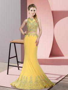 Admirable Gold Mermaid Satin High-neck Sleeveless Beading and Appliques Zipper Prom Gown Sweep Train