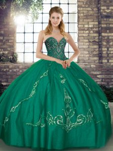 Turquoise Quinceanera Dress Military Ball and Sweet 16 and Quinceanera with Beading and Embroidery Sweetheart Sleeveless Lace Up