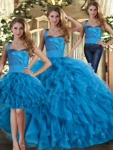 Blue Three Pieces Ruffles 15 Quinceanera Dress Lace Up Tulle Sleeveless Floor Length