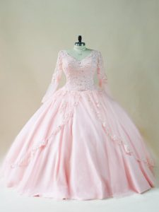 Fashionable Ball Gowns 15 Quinceanera Dress Baby Pink V-neck Satin and Tulle Long Sleeves Floor Length Lace Up
