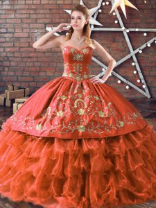 Fantastic Rust Red Sleeveless Floor Length Embroidery and Ruffled Layers Lace Up Quinceanera Gown