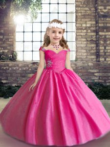 Hot Pink Straps Lace Up Beading Girls Pageant Dresses Sleeveless