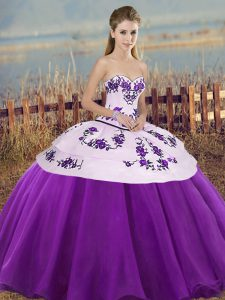 Free and Easy White And Purple Tulle Lace Up 15th Birthday Dress Sleeveless Floor Length Embroidery and Bowknot
