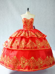Sleeveless Embroidery and Ruffled Layers Lace Up 15th Birthday Dress