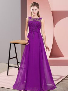 Low Price Purple Empire Chiffon Scoop Sleeveless Beading and Appliques Floor Length Zipper Dama Dress for Quinceanera