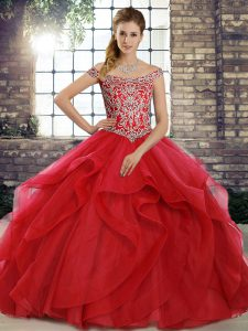 Decent Ball Gowns Sleeveless Red Quinceanera Gowns Brush Train Lace Up