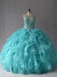 Fantastic Aqua Blue Sleeveless Organza Lace Up Quinceanera Dresses for Sweet 16 and Quinceanera