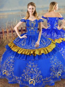 Blue Satin Lace Up Quinceanera Gowns Sleeveless Floor Length Embroidery