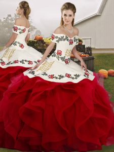 Glorious White And Red Lace Up Quinceanera Dresses Embroidery and Ruffles Sleeveless Floor Length