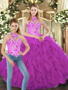Fuchsia Halter Top Neckline Embroidery and Ruffles Sweet 16 Dresses Sleeveless Lace Up