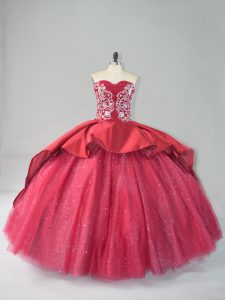 Glittering Appliques Sweet 16 Quinceanera Dress Wine Red Lace Up Sleeveless Court Train