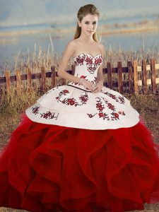 Fitting Sleeveless Floor Length Embroidery and Ruffles and Bowknot Lace Up Sweet 16 Dress with White And Red