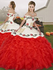 Sumptuous Off The Shoulder Sleeveless Lace Up Sweet 16 Quinceanera Dress White And Red Organza