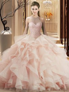 Adorable Ball Gowns Sleeveless Pink 15 Quinceanera Dress Brush Train Lace Up