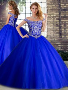 Fantastic Sleeveless Beading Lace Up Sweet 16 Dresses with Royal Blue Brush Train