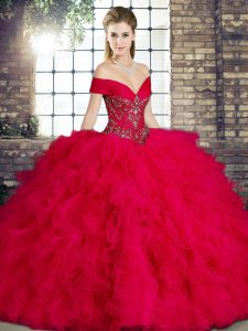 Chic Red Sleeveless Tulle Lace Up Sweet 16 Dresses for Military Ball and Sweet 16 and Quinceanera