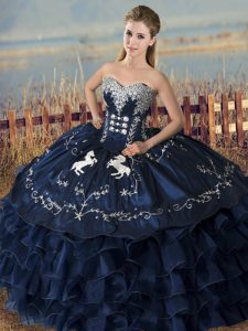 Sleeveless Floor Length Embroidery and Ruffles Lace Up Vestidos de Quinceanera with Navy Blue