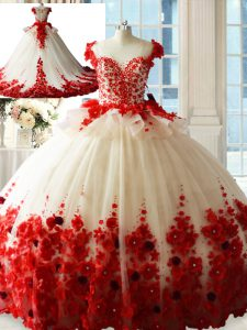 Enchanting Sleeveless Tulle Brush Train Zipper Vestidos de Quinceanera in White And Red with Hand Made Flower