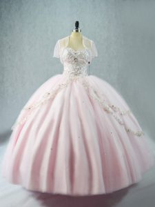Glorious Sweetheart Sleeveless Tulle Sweet 16 Quinceanera Dress Beading Lace Up