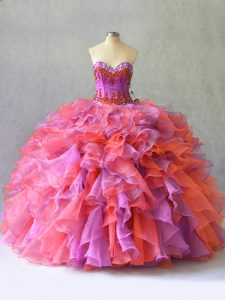 Multi-color Ball Gowns Organza Sweetheart Sleeveless Beading and Ruffles Floor Length Lace Up Quinceanera Dresses