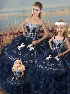 Navy Blue Sleeveless Embroidery and Ruffles Floor Length Quince Ball Gowns