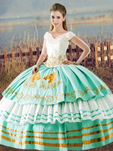 Deluxe Beading and Ruffled Layers Ball Gown Prom Dress Aqua Blue Lace Up Sleeveless Floor Length