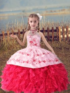 Sweet Coral Red Organza Lace Up Little Girls Pageant Dress Wholesale Sleeveless Floor Length Beading and Embroidery and Ruffles