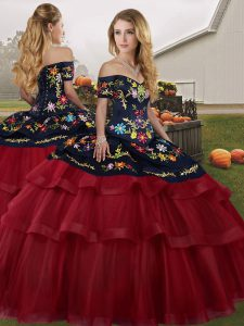 Flirting Wine Red Ball Gowns Embroidery and Ruffled Layers 15th Birthday Dress Lace Up Tulle Sleeveless