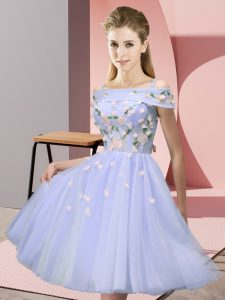 Lavender Empire Appliques Court Dresses for Sweet 16 Lace Up Tulle Short Sleeves Knee Length
