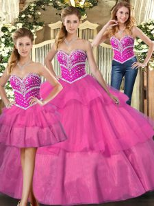 Sweetheart Sleeveless 15th Birthday Dress Floor Length Beading and Ruffled Layers Lilac Tulle