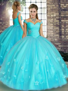 Sleeveless Floor Length Beading and Appliques Lace Up Sweet 16 Dress with Aqua Blue