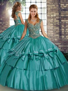 Taffeta Sleeveless Floor Length Sweet 16 Dress and Beading and Ruffled Layers