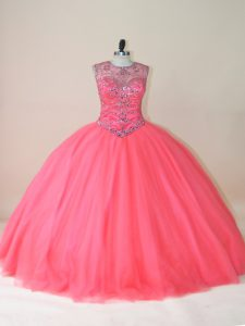 Floor Length Ball Gowns Sleeveless Watermelon Red Quinceanera Dress Lace Up