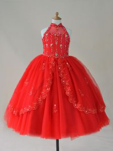 New Arrival Red Sleeveless Beading and Appliques Floor Length Little Girls Pageant Dress