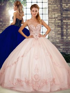 Enchanting Tulle Sleeveless Floor Length Quinceanera Dresses and Beading and Embroidery