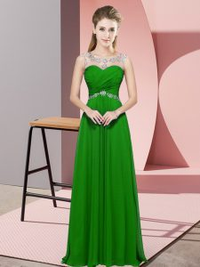 Chiffon Scoop Sleeveless Backless Beading Prom Dresses in Green