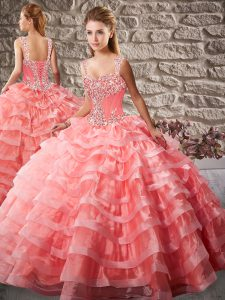 Exceptional Watermelon Red Quinceanera Gown Organza Court Train Sleeveless Beading and Ruffled Layers