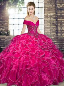 Hot Pink Lace Up Off The Shoulder Beading and Ruffles 15th Birthday Dress Organza Sleeveless