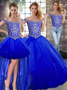 Fantastic Royal Blue Three Pieces Tulle Off The Shoulder Sleeveless Beading and Ruffles Floor Length Lace Up Quince Ball Gowns