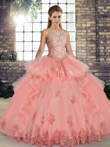 Tulle Sleeveless Floor Length Quinceanera Dress and Lace and Embroidery and Ruffles