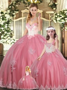 Watermelon Red Sleeveless Floor Length Beading and Appliques Lace Up Vestidos de Quinceanera