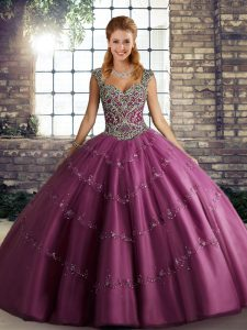 Delicate Sleeveless Lace Up Floor Length Beading and Appliques Sweet 16 Dress