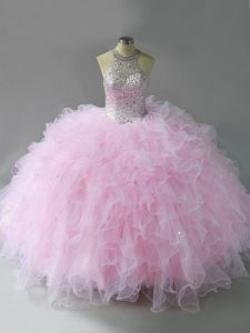 Beautiful Sleeveless Tulle Floor Length Lace Up Quinceanera Gowns in Pink with Beading and Ruffles