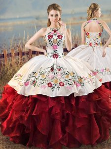 White And Red Ball Gowns Organza Halter Top Sleeveless Embroidery and Ruffles Floor Length Lace Up Quinceanera Dresses