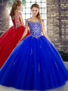 Deluxe Tulle Sleeveless Floor Length Quinceanera Gown and Beading