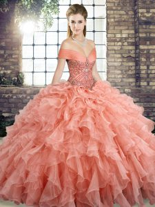 Beautiful Brush Train Ball Gowns Vestidos de Quinceanera Peach Off The Shoulder Organza Sleeveless Lace Up