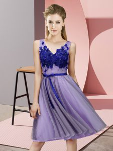 Pretty Lavender Lace Up V-neck Appliques Quinceanera Court Dresses Tulle Sleeveless