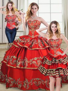 Glamorous Red Sleeveless Floor Length Embroidery and Ruffled Layers Lace Up Sweet 16 Dress